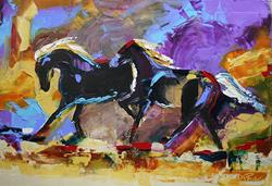 Art: no 19 two black horses.jpg by Artist Laurie Justus Pace