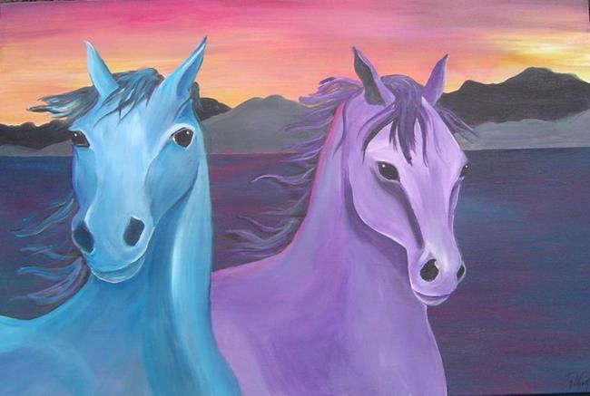 Art: Sunset Horses by Artist Padgett Mason