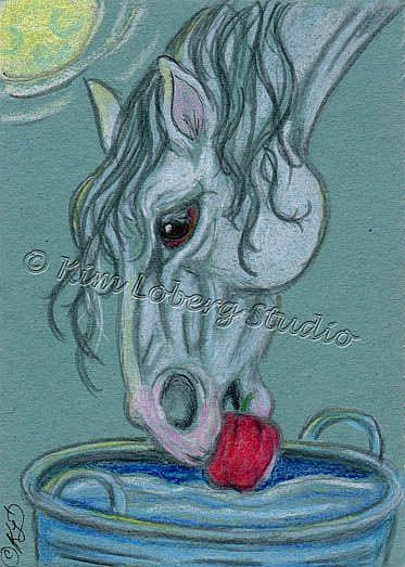 Art: Dobbin Bobbin' for Apples by Artist Kim Loberg