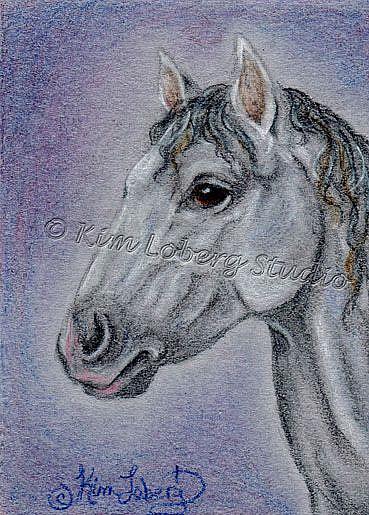 Art: Blue Roan Horse by Artist Kim Loberg