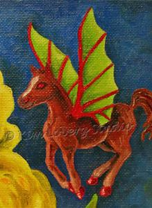 Detail Image for art Little Imp Fairy Horse Flies on Iris