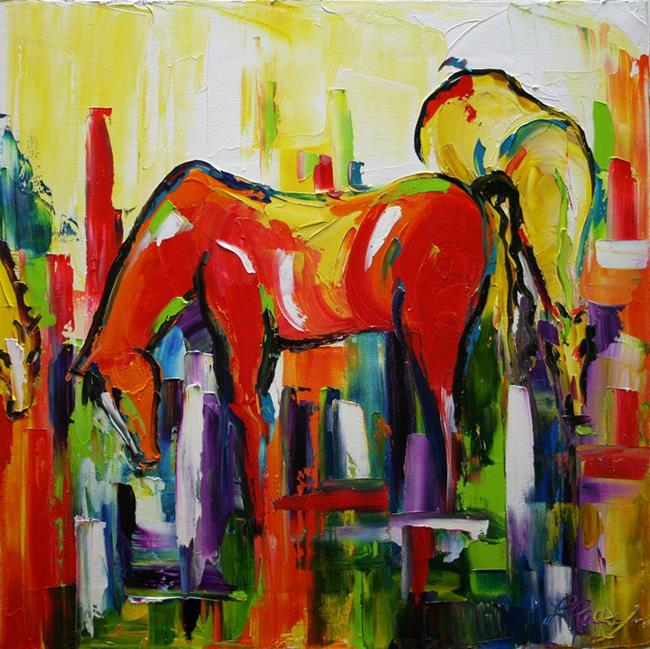 Art: Red and Yellow Horses by Artist Laurie Justus Pace