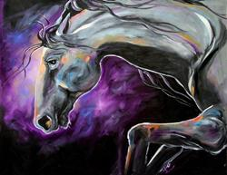Art: MID Silver Steed Night Dance 22 x 28 Oil on Canvas.jpg by Artist Laurie Justus Pace