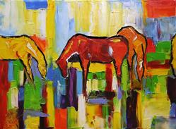 Art: no 3 2010 Grazing in the New Year 18 x 24 inches oil on Canvas.jpg by Artist Laurie Justus Pace