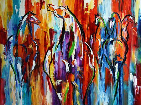 Art: Texas Herd 3 ft by 4 ft Oil on Canvas By Laurie Pace.jpg by Artist Laurie Justus Pace