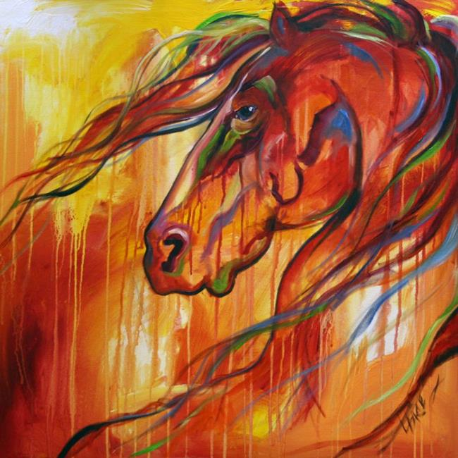 Art: no 23 The Hunter 30 x 30 Oil Laurie Pace.jpg by Artist Laurie Justus Pace
