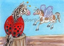Art: Appaloosa Lady Bug & Pinto Horse Fly by Artist Kim Loberg