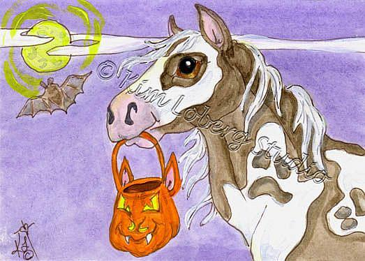 Art: Specter Paint Horse Trick or Treating by Artist Kim Loberg