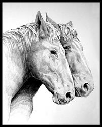 Art: Two of Burch's Percherons by Artist David Mott