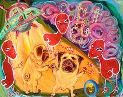 Art: Pug Alien Abduction by Artist Elisa Vegliante