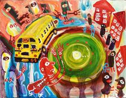 Art: The Great School Bus Chase by Artist Elisa Vegliante
