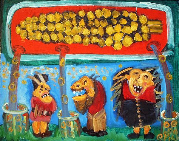 Art: Corn Rain by Artist Elisa Vegliante