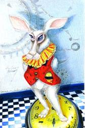 Art: The Wonderland Rabbit...It is Later than You Think by Artist Alma Lee