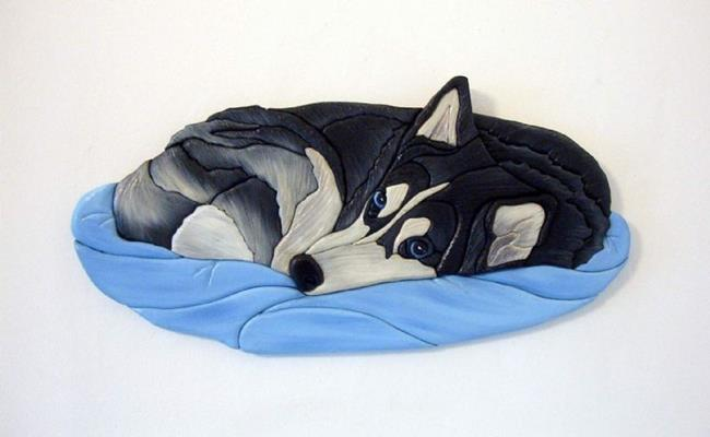 Art: Husky Nap Time Original Painted Intarsia Art by Artist Gina Stern