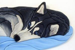 Detail Image for art Husky Nap Time Original Painted Intarsia Art