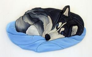 Detail Image for art Husky Nap Time Original Painted Intarsia Art