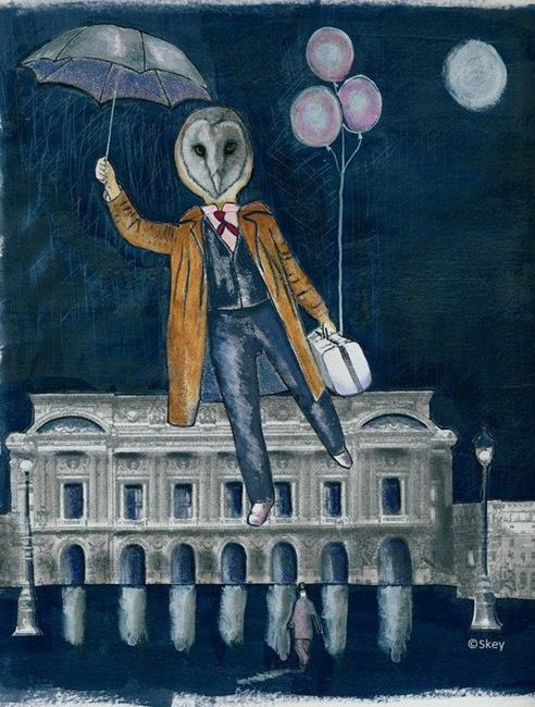 Art: Mr. Owl and the Night Shift by Artist Sherry Key