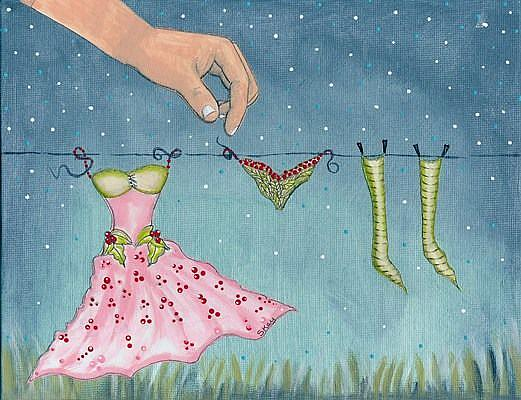 Art: Discovery-Fairy Laundry Day by Artist Sherry Key