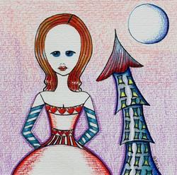 Art: Alice, Castle Turret, Moon, Hearts by Artist Sherry Key