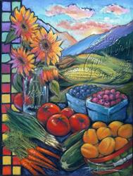 Art: Wasatch Sunrise at Ogden Farmers' Market by Artist Patricia  Lee Christensen