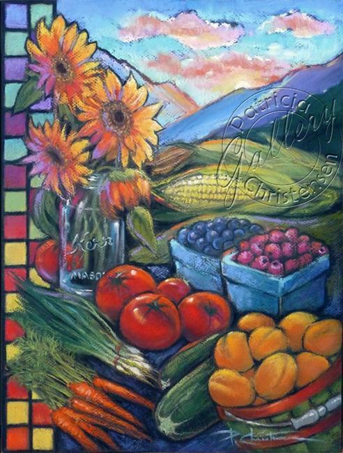 Art: Wasatch Sunrise at Ogden Farmers' Market by Artist Patricia  Lee Christensen