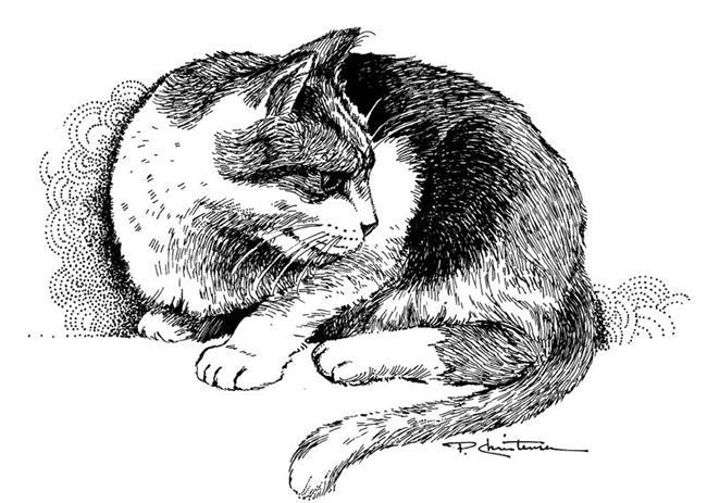 Art: Alert Kitty by Artist Patricia  Lee Christensen