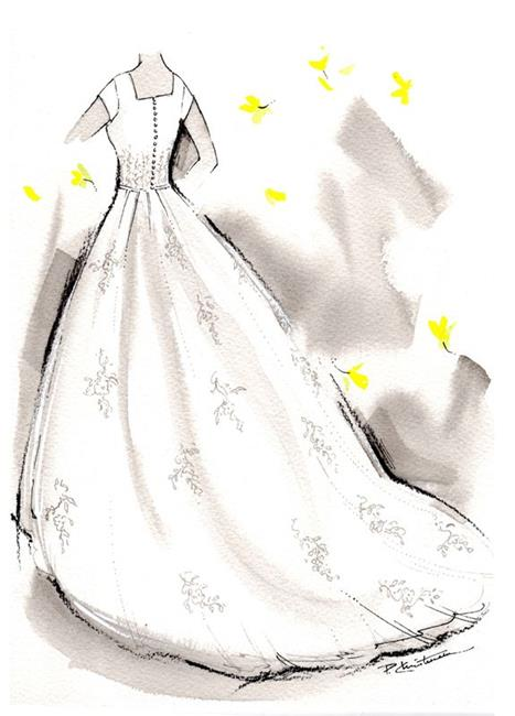 Art: Bridal Gown Fashion Sketch - Custom Order - Sold by Artist Patricia  Lee Christensen