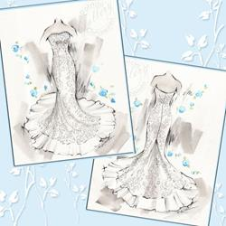 Art: Custom Bridal Fashion Sketches by Artist Patricia  Lee Christensen