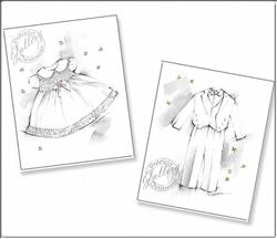Art: Infant Girl & Boy Blessing Dress & Tuxedo ~ Fashion Sketches by Artist Patricia  Lee Christensen