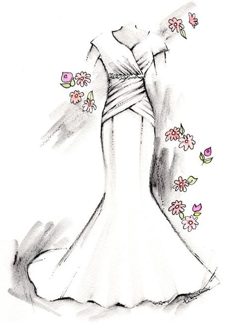 Art: Bridal Gown - Front by Artist Patricia  Lee Christensen
