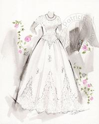 Art: Bridal Dress Fashio Sketch Commission ~ Front by Artist Patricia  Lee Christensen
