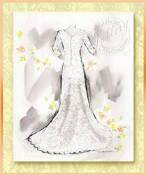 Art: Bridal Gown ~ Fashion Sketch by Artist Patricia  Lee Christensen