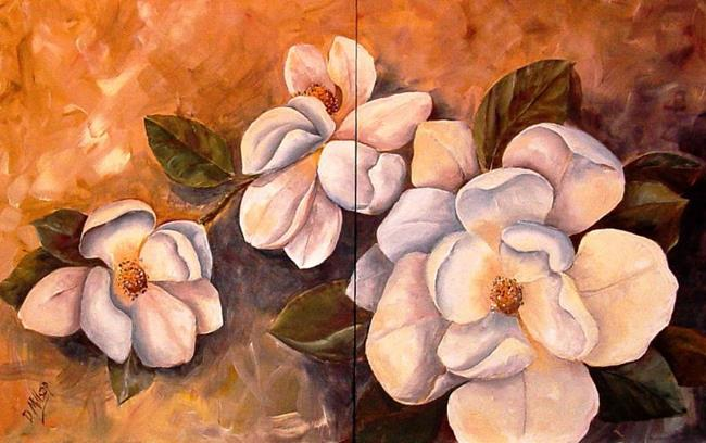 Art: Spring Magnolias - Diptych - SOLD by Artist Diane Millsap