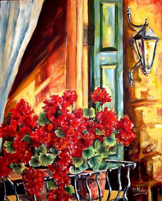 Art: Window Box with Geraniums by Artist Diane Millsap
