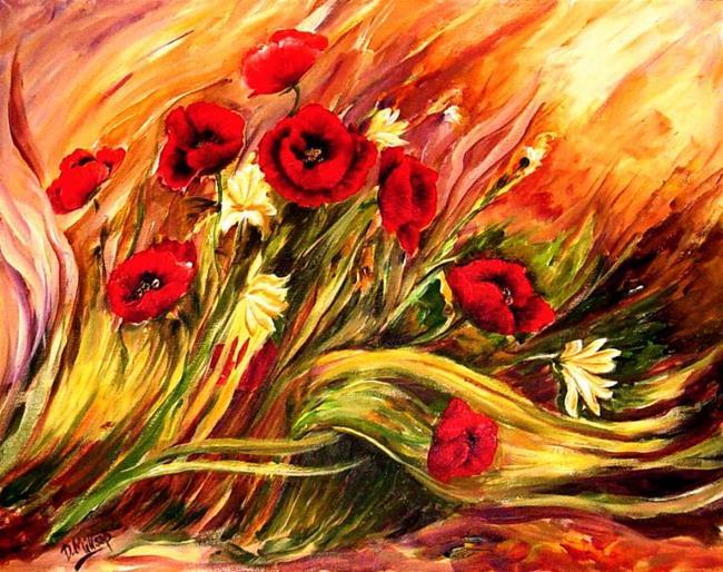 Art: Windswept Poppies - SOLD by Artist Diane Millsap