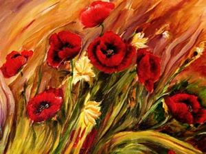 Detail Image for art Windswept Poppies - SOLD