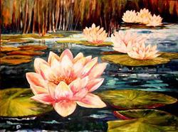 Art: Moonlight and Water Lilies - SOLD by Artist Diane Millsap