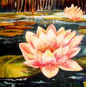 Detail Image for art Moonlight and Water Lilies - SOLD