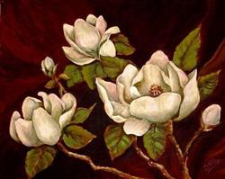 Art: White Magnolias #2-SOLD by Artist Diane Millsap