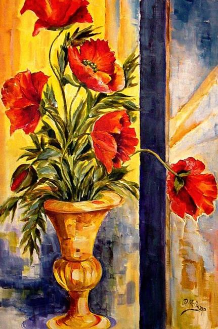 Art: Poppies with Brass Vase by Artist Diane Millsap