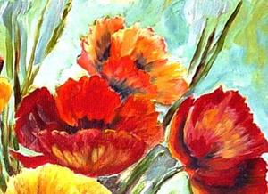 Detail Image for art Poppies with Red Chair