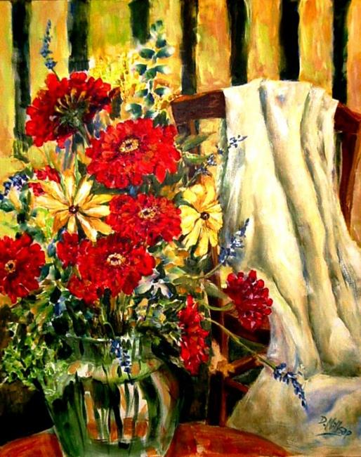 Art: Red Flowers with White Drape - SOLD by Artist Diane Millsap