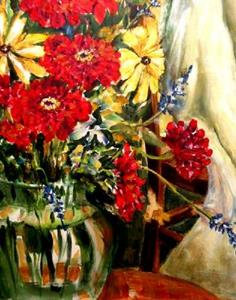 Detail Image for art Red Flowers with White Drape - SOLD