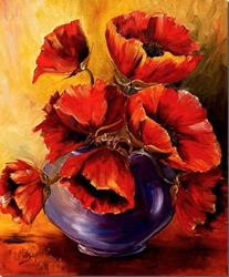 Art: Bowl of Poppies by Artist Diane Millsap
