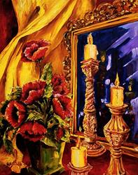 Art: Poppies by Candlelight by Artist Diane Millsap
