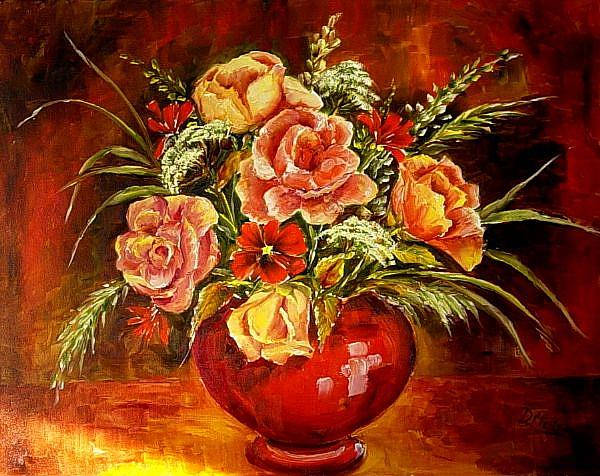 Art: Red Bowl with Roses by Artist Diane Millsap