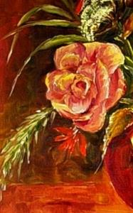 Detail Image for art Red Bowl with Roses