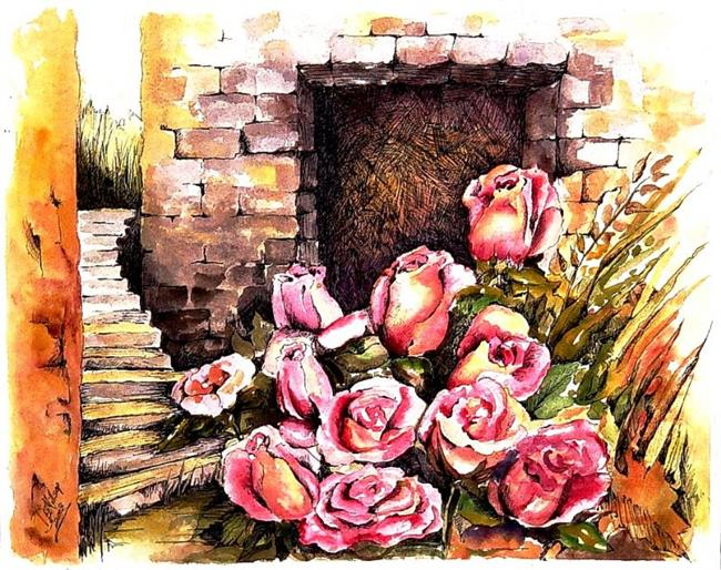 Art: Roses in the Courtyard by Artist Diane Millsap