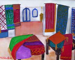 Art: The Bazaar (SOLD) by Artist Fran Caldwell