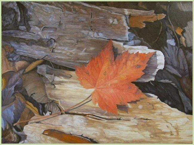 Art: One Orange Leaf by Artist Harlan